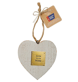 Mud Pie Live LIfe Happy Wooden Heart American Cancer Society Ornament