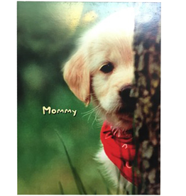 Mothers Day Card Puppy Behind Tree