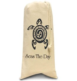 Digs Seas The Day Cotton Wine Bag With Sea Turtle