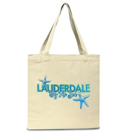 Digs Lauderdale By The Sea Cotton Canvas Tote Bag Blue Green