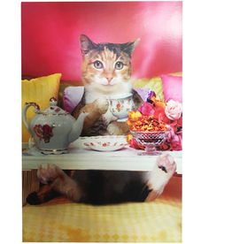 Mothers Day Card Breakfast In Bed Cat Holidng Tea Cup