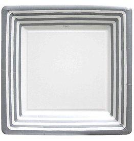 Caspari Paper Plates Silver Stripe Dinner Plates 10.25 Square