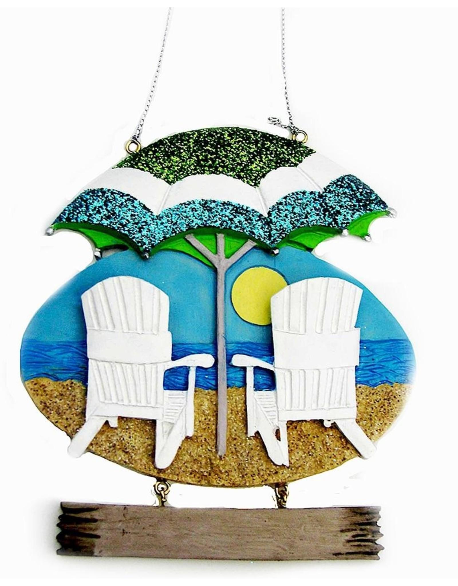 Kurt Adler Beach Chair Christmas Ornament For Personalization