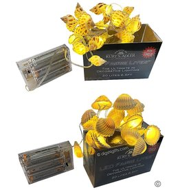 Kurt Adler Shell Fairy Lights 20 Light Set Battery-Operated Set of 2 Assorted