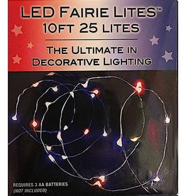 Kurt Adler LED Fairy String Lights 10FT 25L Multi Color Red White Blue