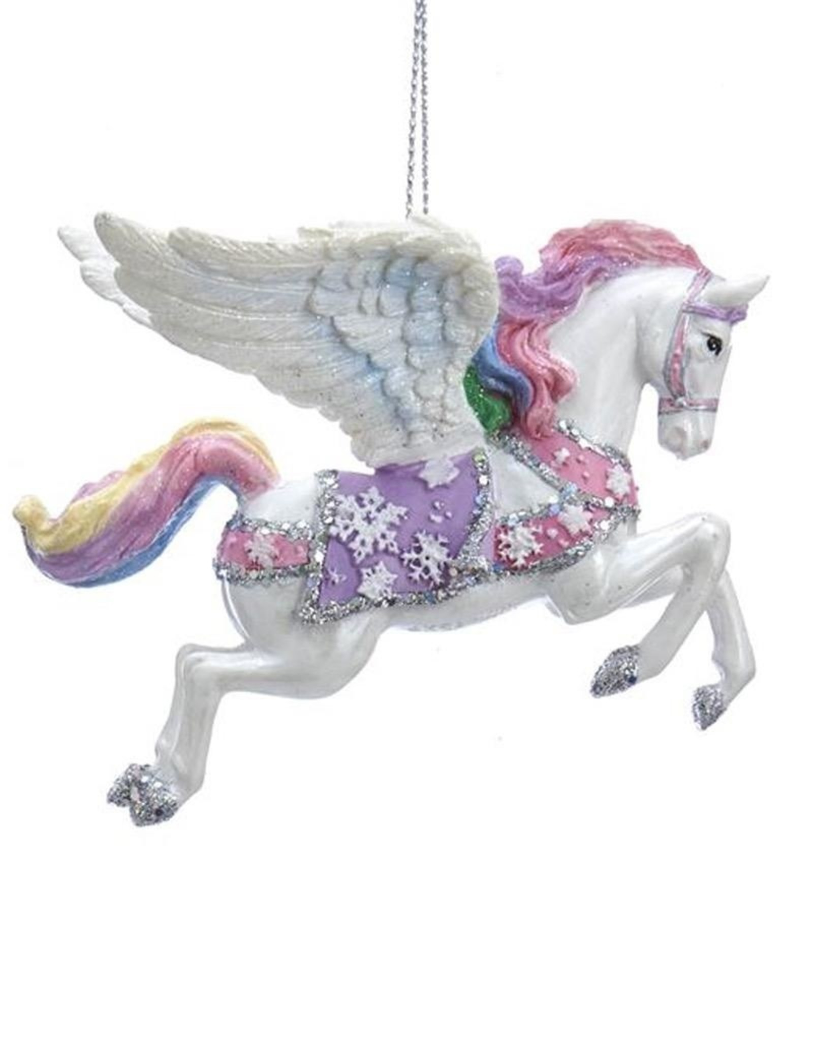 Glittered Mystical Unicorn with  wings   Blown Glass New Christmas  Ornament