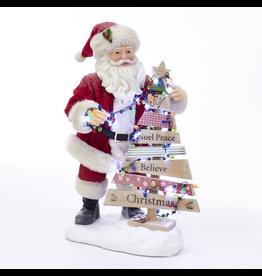 Kurt Adler Fabriche Santa With Lighted Christmas Tree Table Figurine