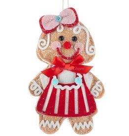 Kurt Adler Gingerbread Girl Cookie Doll Christmas Ornament 7.5 Inch