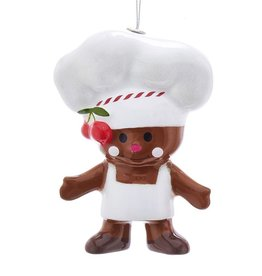 Kurt Adler Gingerbread Man Cookie Chef Christmas Ornament White Apron