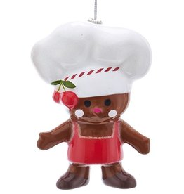 Kurt Adler Gingerbread Man Cookie Chef Christmas Ornament Red Apron