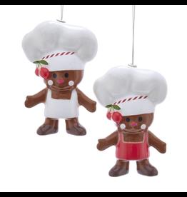 Kurt Adler Gingerbread Man Cookies Chef Christmas Ornaments Set of 2