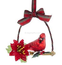 Kurt Adler Glass Red Cardinal Ornament Perched Bird On Branch w Poinsettia