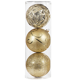 Darice Large Ball Ornaments Gold 3pk 150mm Shatter-Proof -A