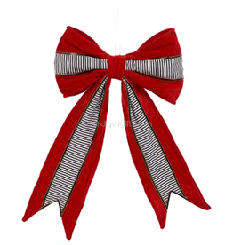 Red Black White Decorative Bow Tree Topper Stripes 16 Inch
