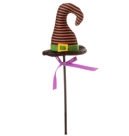 Darice Halloween Picks Witch Hat Pick 4x16 inch Orange Stripes