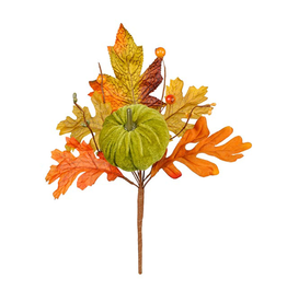 Darice Fall Picks Fall Leaf w Pumpkin Pick 10x6 Inch - Green