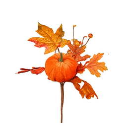 Darice Fall Picks Fall Leaf w Pumpkin Pick 10x6 Inch - Orange