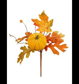 Darice Fall Picks Fall Leaf w Pumpkin Pick 10x6 Inch - Yellow