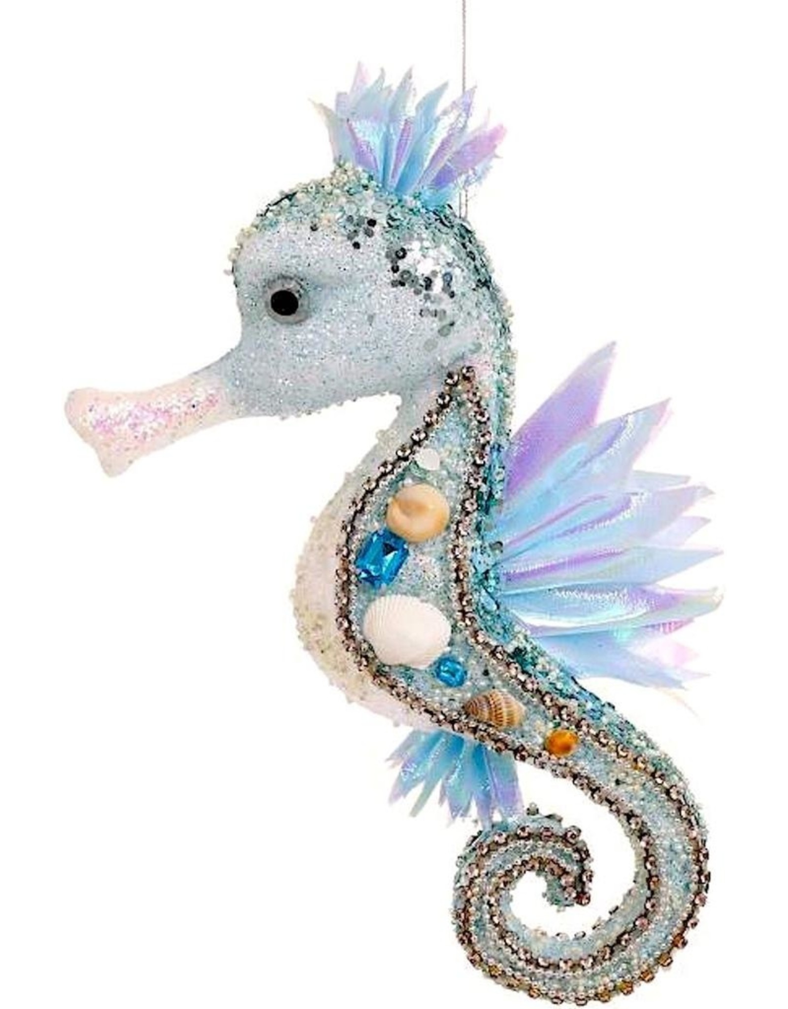 Mark Roberts Beaded Seahorse Ornament 3-Dimensional 12x6x3.5 Inch