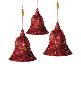 Katherine's Collection Red Encrusted Bell Christmas Ornaments Set of 3