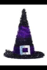 Darice Halloween Tinsel Witch Hats 10 Inch Purple Stripes