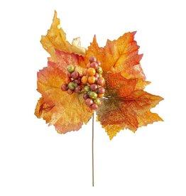 Darice Fall Floral Picks Fall Leaf w Multi Colored Berries 10x6 Inch