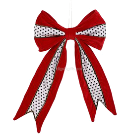 Red Black White Decorative Bow Tree Topper Dots 16 Inch