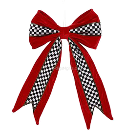 Red Black White Decorative Bow Tree Topper Checker 16 Inch
