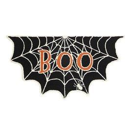 Peking Handicraft Halloween Boo Spider Web Shaped Hook Rug 34x18