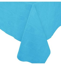 Caspari Moire Printed Paper Linen Table Covers In Turquoise