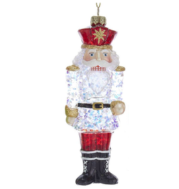 Kurt Adler Glass Nutcracker Glittered Clear Glass Ornament 6 inch CLR