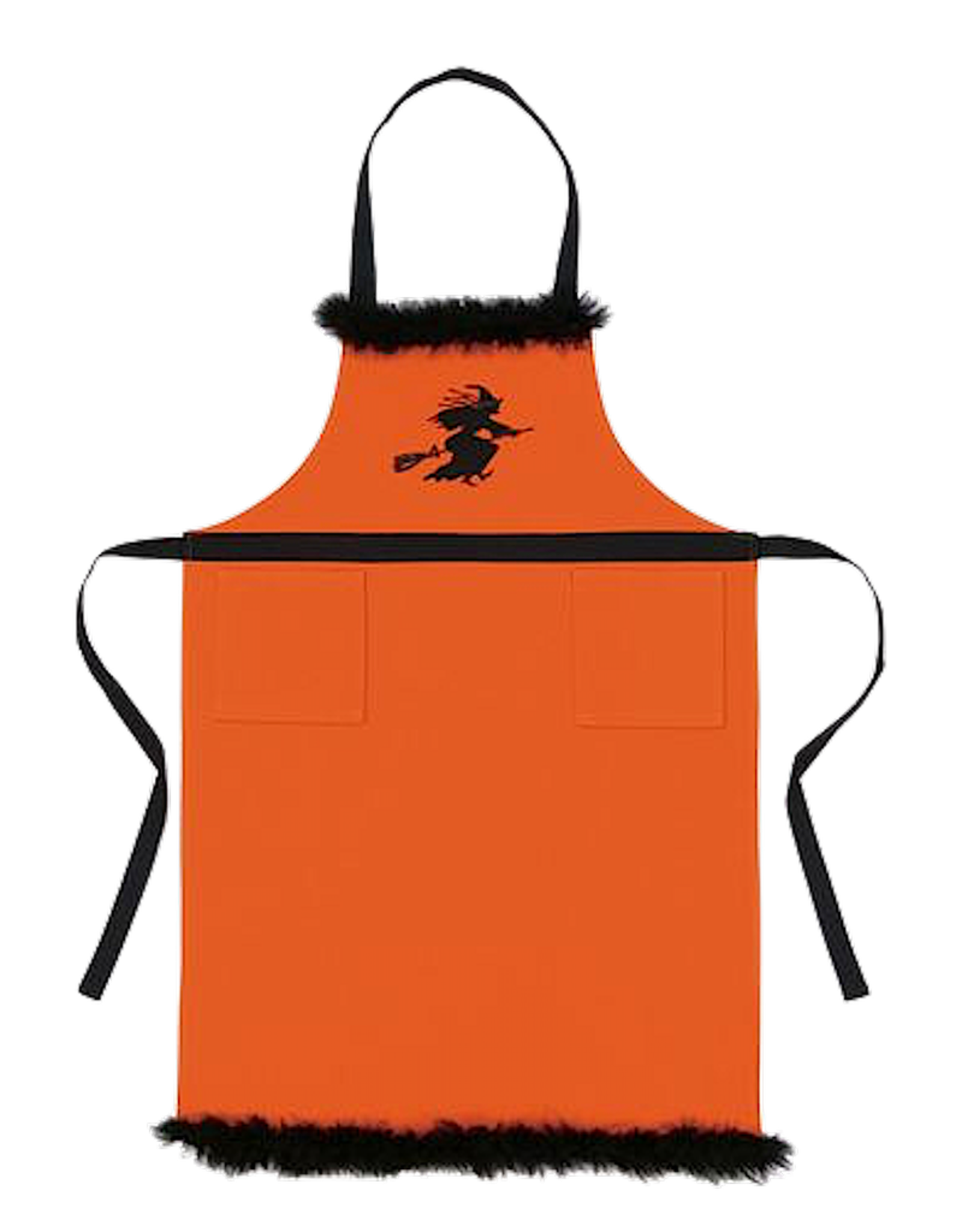 Peking Handicraft Halloween Apron Orange W Black Embroidered Flying Witch Digs N Gifts