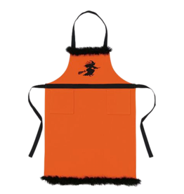 Peking Handicraft Halloween Apron Orange W Black Embroidered Flying Witch
