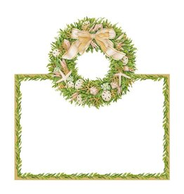 Caspari Christmas Table Place Cards  8pk Shell Wreath Coastal