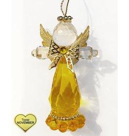 Kurt Adler Birthstone Angel Ornaments 3.25 Inch NOVEMBER Topaz