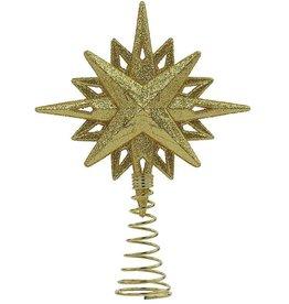 Kurt Adler Gold Glitter Star Tree Topper For Small 3-4ft Trees