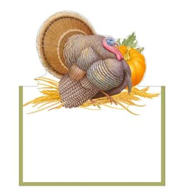 Caspari Place Cards Tent Style 8pk Thanksgiving Harvest Turkey