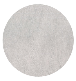Caspari Placemats Round Felt Backed Metallic Silver Faux Leather Texture