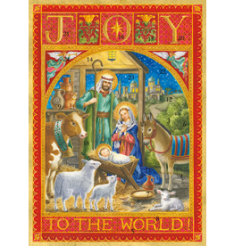 Caspari Christmas Advent Calendar Card Joy To The World Nativity Scene