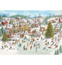 Caspari Christmas Advent Calendar Card Ice Skating Pond Village Scene