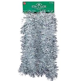 Kurt Adler Silver and Iridescent Tinsel Garland 15ft 5 Ply