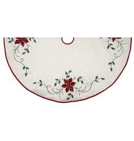 Kurt Adler Christmas Tree Skirt Ivory W Poinsettia Embroidery 48 Inch