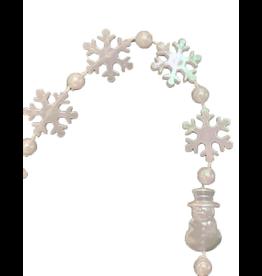 Darice Mini Snowflakes W Snowman Christmas Garland 4FT White