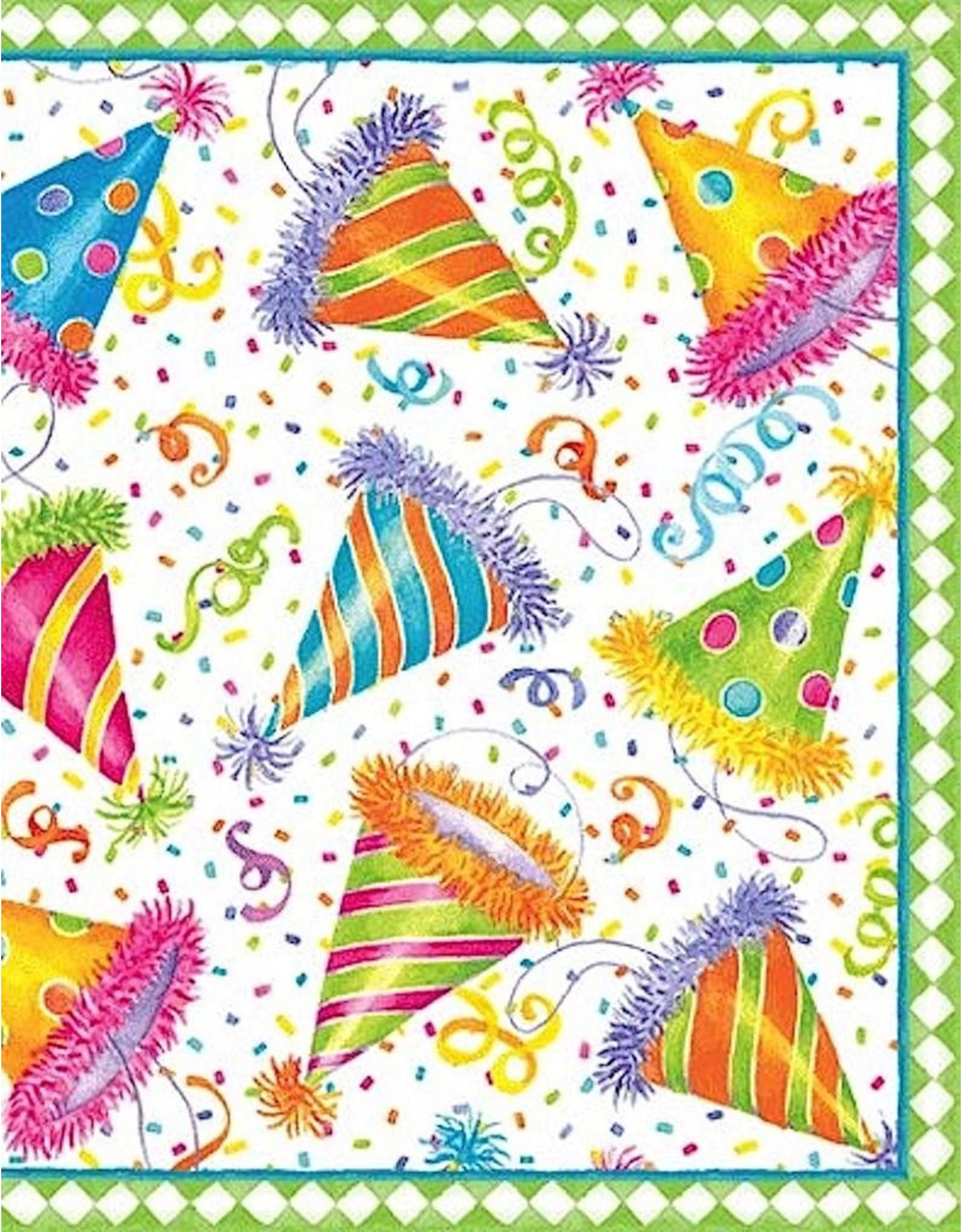 Caspari Birthday Gift Enclosure Cards 4pk Hats Off