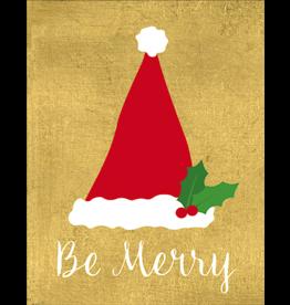 Caspari Christmas Gift Enclosure Cards 4pk Be Merry Santa Hat On Gold Foil