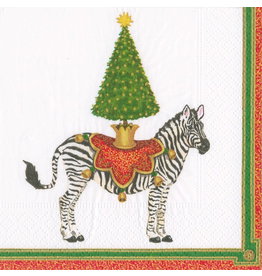 Caspari Christmas Paper Cocktail Napkins 20pk Zebra And Tree