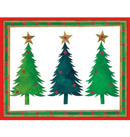 Caspari Boxed Christmas Cards Set of 16 Three Trees Christmas Cards