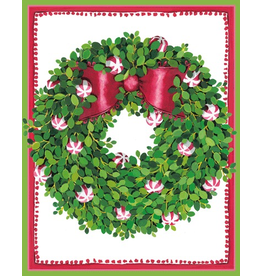 Caspari Boxed Christmas Cards Set of 16 Peppermint Wreath Cards
