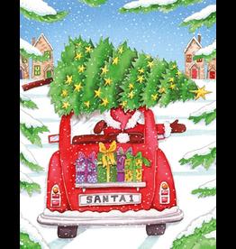 Caspari Boxed Christmas Cards Set of 16 Santa In Car Christmas Cards