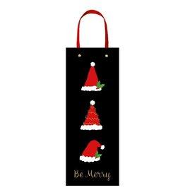 Caspari Christmas Wine Bottle Gift Bag Be Merry Santa Hats